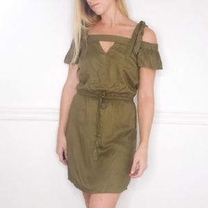 Guess Olive Green Tie Shoulder Dress XS
